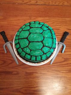 Ninja Turtle Cake- Made for Carter and Jordan- Oct 2015