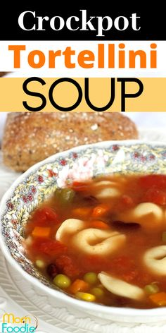 Crockpot Tortellini Soup is an easy vegetarian soup to make right in your slow cooker. #crockpot #tortellini #soup #slowcooker