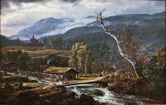 Landscape at Kaupanger with Stave Church J.C.C. Dahl - 1847