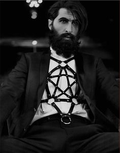 For my 21 birthday a guy came to me like this. he didnt look as hot but if he did my birthday might have been wilder then expected M_P_E_T Black Leather — Pentagram Harness - by Zana Bayne Witch Fashion, Fashion Art, Fashion Blogs, Fashion Outfits, Womens Fashion, Hipsters, Male Witch, Leather Harness, Fetish Fashion
