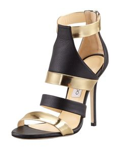 Besso Mixed-Leather Sandal by Jimmy Choo at Bergdorf Goodman.