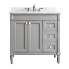 Catania Grey/White Carrara Marble Top 36-inch Single Vanity - 18800831 - Overstock - Great Deals on Vinnova Bathroom Vanities - Mobile