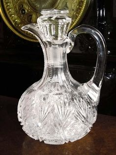 American Brilliant Cut Glass Crystal Cruet Antique Oil or Vinegar Fan/Star pattern.