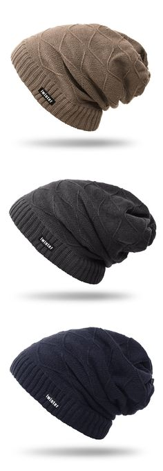 58%OFF&Free shipping.Men Hat, Winter Knitted Plus Plush Beanie Hats, Outdoor&Casual, Warm&Adjustable. Shop now~