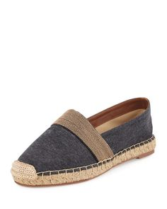Inspiration (denim beaded): X2HFA Brunello Cucinelli Beaded Jersey Espadrille Flat