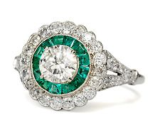 Emerald & Diamond engagement ring from Georgian Jewelry. But, I would want a princess cut center diamond with Peridots instead of emeralds. Antique Engagement Rings, Diamond Engagement Rings, Diamond Rings, Diamond Jewelry, Bling Bling, Emerald Diamond, Emerald City, Emerald Rings, Cute Rings
