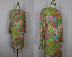 1960s Psychedelic Print Dress / 60s Mod Sheath by livinvintageshop