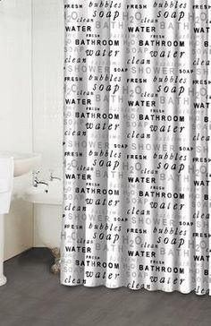 H20 Black White Shower Curtain