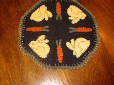 Primitive Candle Mat -Woolfelt Penny Rug-Bunny  9""
