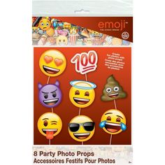 Emoji Photo Props - 8 Pk Party Supplies Canada - Open A Party