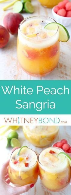 This white peach sangria is the perfect summer cocktail recipe combining refreshing white wine with fresh peaches, nectarines and lime juice! #WorldMarketTribe