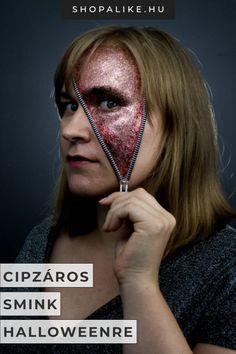 Szeretnél beöltözni halloweenre, de nem szereted a véres jelmezeket, és az unalomig ismételt maskarákból is eleged van? Ez az izgalmas csillámos cipzár tökéletes smink ötlet lehet számodra, ha egy egyedi álruhát keresel. Janny Cierpka hivatásos testfestő művész csillogó sminkjét te is könnyedén leutánozhatod. Hogyan? Olvasd el a halloween sminkleckéit, és kövesd a néhány egyszerű lépést. Az eredmény egy látványos, nőies megjelenés. #smink #halloween #cipzár #arcfestés Halloween Tutorial, Halloween Kostüm, Halloween Face Makeup, Riped Jeans, Diy Ripped Jeans, Fantasy Make Up, Makeup Art, Things To Do, Burgundy
