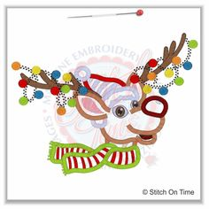 360 Christmas : Reindeer With Christmas Lights Applique 5x7   http://stitchontime.com