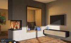 Panoramakamin als Raumteiler mit kuscheliger Nische. CAD Zeichnung von Ofen Weiss Calw. #panoramakamin #dreiseitigerkamin #raumtrennerkamin #ofenweisscalw