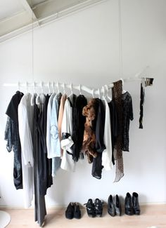 sara russell interiors: DIY floating branch clothing rack