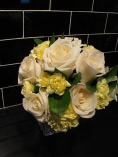 "Read: ""Bouquet vs Flower Arrangement"" Image: www.flymetothemoonflorists.com # bridal bouquets #flowers #white flowers"