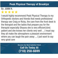 I would highly recommend Peak Physical Therapy to my Orthopedic doctors and friends that...