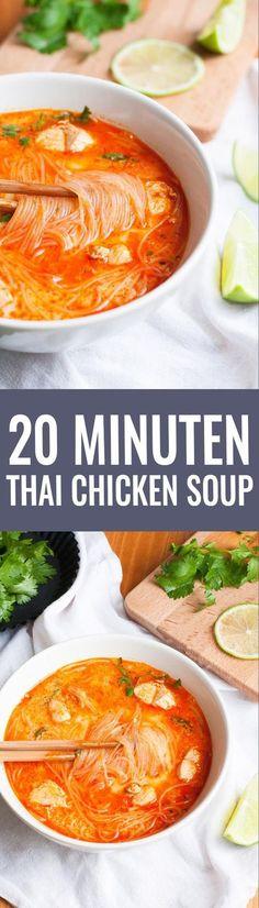 20 Minuten Thai Chicken Soup. SO gut - Kochkarussell.com
