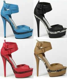 Open Toe High Heel Ankle Strap Double Platform Anne Michelle Ecstacy-01 - ebay.com