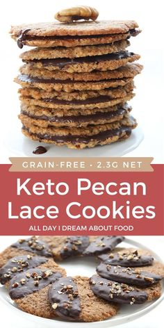 Lace Cookies Recipe, Pecan Cookies, Keto Cookies, Coconut Cookies, Sweets Recipes, Healthy Desserts, Cookie Recipes, Keto Recipes, Low Carb Deserts