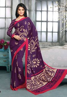 Dark Violet Colored Semi Crepe Saree with Violet Colored Printed Blouse Part @ Rs. 870 Only  http://www.shreedevitextile.com/women/sarees/synthetic-fancy-sarees/shree-devi/dark-violet-colored-semi-crepe-saree-11842