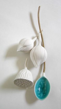 Helen Earl, Pond Spoon with Lotus seedpod and buds. Porcelain and Driftwood