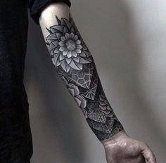 Geometric 3d Half Forearm Guys Sleeve Tattoo                              …
