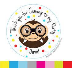 Curious Monkey Stickers thank you Thanks for coming to my Birthday Party. Curious George Inspired PRINTED round Stickers Labels A981 by Mariapalito