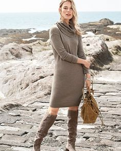 90e6e21a791 Eco Merino Cowl-Neck Sweater Dress