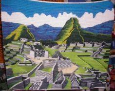 Handgewebter Motivteppich, Ruinen von Machu Picchu, 100 x 100 cm