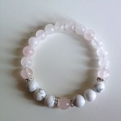 Help to Release Anger ~ Genuine White Howlite & Rose Quartz Bracelet w/ Swarovski Crystal Spacers Rose Quartz is a stone of love. Rose Quartz Bracelet, Lava Bracelet, Healing Bracelets, Gemstone Bracelets, Pandora Bracelets, Jewelry Bracelets, Jewelry Crafts, Handmade Jewelry, Beaded Jewelry Designs