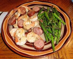 Low Carb Shrimp and Kielbasa Scampi with Asparagus - Living Low Carb One Day At A Time