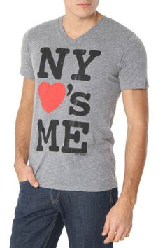 Local Celebrity NY Loves Me V-Neck T-Shirt In Heather Gray