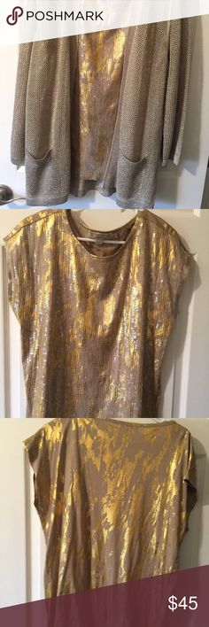 MK sequin blouse size L Beautiful gold and beige blouse with sequins on the front side Sweater Chico in a different listings looks great together  Michael Kors Size L Thinking Holidays coming soon Michael Kors Tops Blouses