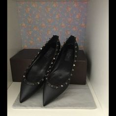 Valentino( 100% authentic )Rockstud Ballerina with box/Wore them once/ good condition/100% authentic!!! ( reasonable pricing could accept) Valentino Shoes