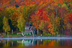 Image detail for -... Vermont, Stowe, Lake Elmore, Foliage, Fall Colors, Landscape, Dawn