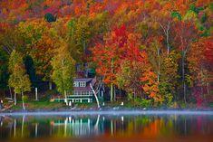 Vermont, Stowe, Lake Elmore, Foliage, Fall Colors