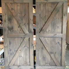 A pair of British Brace barn doors with a mix of Classic Grey and Special Walnut…