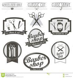 set-vintage-barber-shop-logo-labels-badges-emblems-label-designed-elements-monochrome-linear-style-51923584.jpg (1300×1390)