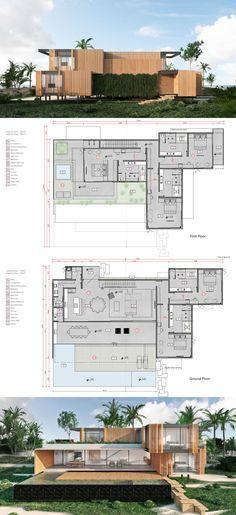 Six Senses Residences Formosa Bay, Brazil Six Senses Residence - 5 Bedroom Modern Architecture House, Architecture Plan, Residential Architecture, Mansion Plans, Villa Plan, Modern Villa Design, Modern Mansion, House Blueprints, Modern House Plans