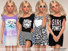 The Sims Resource: Girls Power Dress Collection by Pinkzombiecupcakes • Sims 4 Downloads