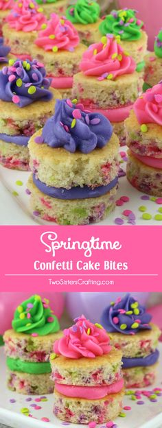Springtime Confetti Cake Bites - fun mini cakes with the most delicious Buttercream Frosting you have ever tasted. A great dessert idea and a unique take on a cupcake. Super easy to make, they will be a big hit as an Easter dessert, Mother's Day treat or a Spring Brunch food. Pint this yummy Easter treat for later and follow us for more Easter food ideas.