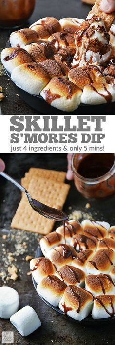 Skillet S'mores Dip | by Life Tastes Good. This indoor s'mores recipe is an easy recipe with just 4 ingredients and ready in only 5 minutes. No campfire needed! Great for a quick snack, dessert, or party appetizer. #LTGrecipes:
