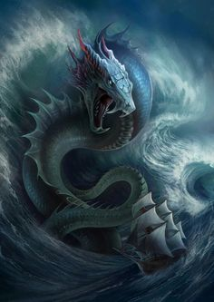 The Last Journey by Dark-Sheyn Featured on Cyrail: Inspiring artworks that make your day better Mythical Creatures Art, Mythological Creatures, Magical Creatures, Fantasy Creatures, Water Dragon, Sea Dragon, Fantasy Monster, Monster Art, Snake Monster
