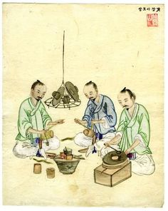 Genre painting: Hatmakers. The genre painting shows the making of traditional Korean hats (gat). This forma of headdress was made of horsehair and worn by men who attained their adulthood. Kisan or Kisan Studio, ink and colours on paper, height 25.4 cm, width 20.3 cm, Joseon Dynasty (1392-1910), late 19th/early 20th century, Ethnological Museum, National Museums in Berlin, Prussian Cultural Heritage Foundation, Inv. No. ID 44058 (photo: Archive Ethnological Museum)