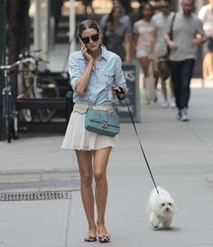 Olivia Palermo weekend casual in a 7 For All Mankind Slim Western Denim Shirt, ivory mini skirt, light blue Miss Dior Ostrich bag & Dior Black Tie sunglasses #StreetStyle