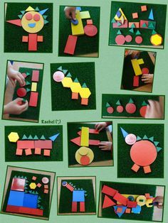 """Dinosaur pictures and other shape creations from Rachel ("""",)"""