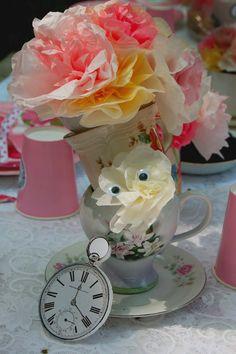 Mad Hatters tea party Ideas... foam board pocket watches----genius!!