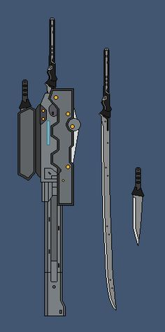 Metal Gear Rising Raiden's Sword by RyuRyugami Anime Weapons, Sci Fi Weapons, Weapon Concept Art, Fantasy Sword, Fantasy Weapons, Mgs Rising, Raiden Metal Gear, Metal Gear Rising, Arte Ninja