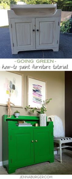 Furniture Makeover: TUTORIAL ON HOW-TO PAINT FURNITURE; before & after cabinet transformation by www.jennaburger.com